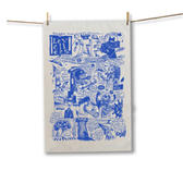 Blue Comix Tea Towel