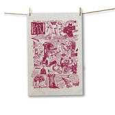 Burgundy Comix Tea Towel