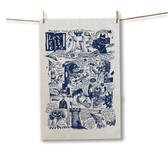 Navy Comix Tea Towel